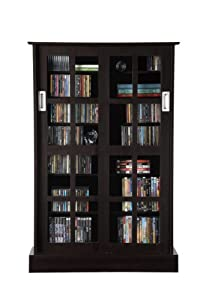 Atlantic 94835721 Windowpane 576 CD or 192 DVD Blu-Ray Games Wood Look Cabinet with Sliding Glass Doors (Espresso)