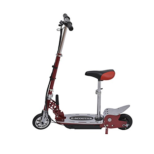 Electric 120W Kids Motorized Riding E Scooter W/ Seat - Red And Silver