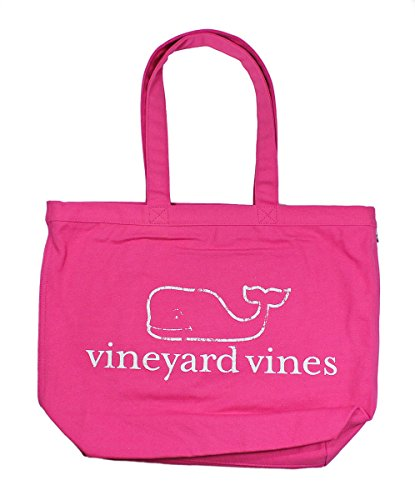 Vineyard Vines Whale Graphic Lipstick Pink Cotton Canvas Tote Carryall Bag