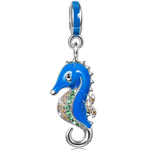 Ninaqueen 925 Sterling Silver Enamel Miss Hippocampus Dangle Charms Fit Pandora Bracelet