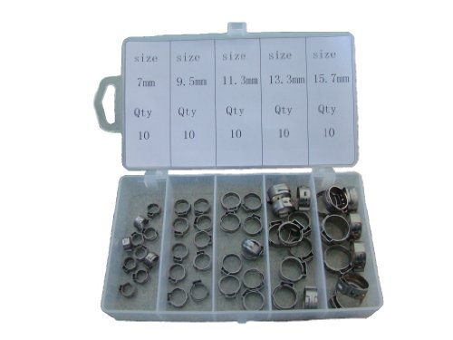 Oetiker Style SS Single Ear Hose Clamps 50 pcs Assortment Case
