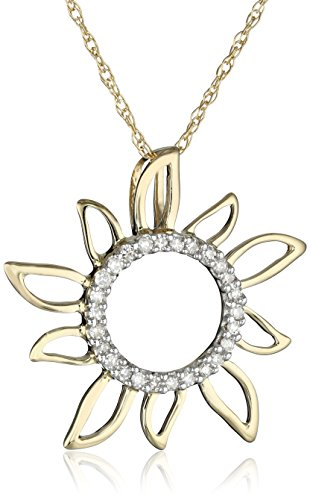 10k Yellow Gold Diamond Sun Pendant (0.08 cttw, I-J Color, I2-I3 Clarity), 18″