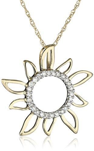 10k Yellow Gold Diamond Sun Pendant (0.08 cttw, I-J Color, I2-I3 Clarity), 18