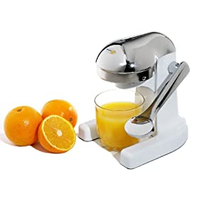 Metrokane Mighty OJ Citrus Juicer, White with Chrome Head and Handle