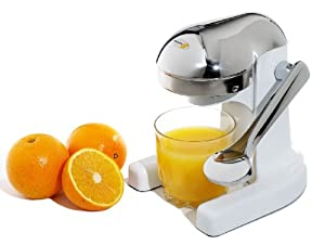 Metrokane 3502 Mighty OJ Citrus Juicer, White with Chrome Head and Handle