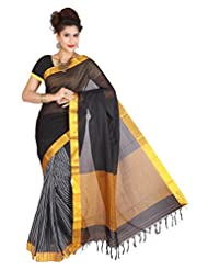 Manisha Silks South Cotton Zari Black Handloom Signature Drape Saree