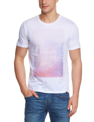 7 For All Mankind Treated Graphic Printed Men's T-Shirt White/Purple/Pink Large - S559070WI