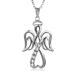 Winged Angel Open Heart Diamond Pendant-Necklace in Sterling Silver 18