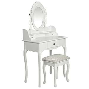 Coiffeuse en bois blanche avec tabouret et miroir inclus for Meuble coiffeuse en anglais