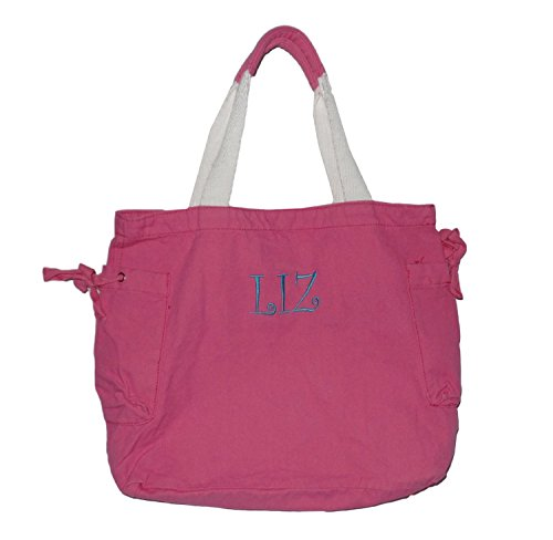 "SHANTIE discount duty free Custom Personalized 16"" Cotton Tote Bag with Drawstring Side Pockets (Personalized, Pink)"