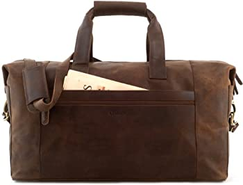 LEABAGS DUBAI Genuine Leather Vintage Travel Weekender Holdall Sports Bag