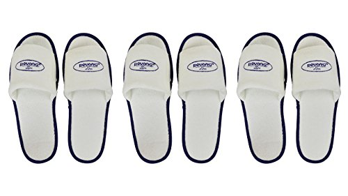 Open Toe White Pevonia Spa Slippers / Hotel Slippers (3 Pairs) (Slippers Hotel compare prices)