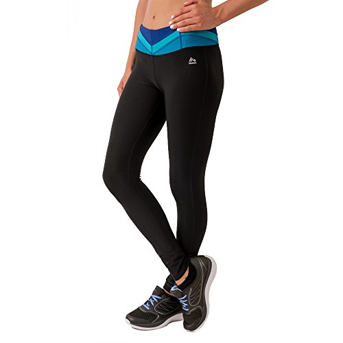 RBX Active Womens Fitted Yoga Pants Contrast Paneled Waistband Fashion Detail, Midnight Blue, Medium