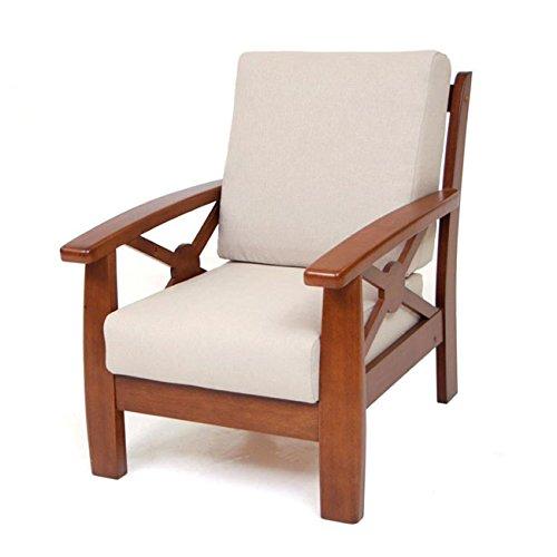 Poltrona relax in legno massiccio stoffa colore Ecru