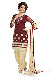 Ethnic For You Women's Cotton Salwar Suit Dress Material(ETH5948_Brown)