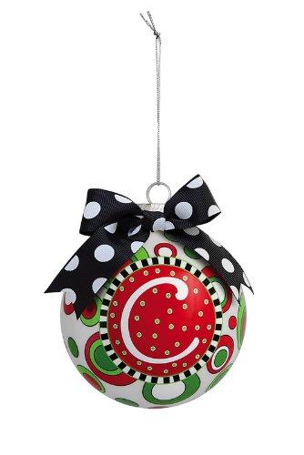 Christmas Ornaments: Holiday Whimsy Monogram Glass Ball Ornament - C