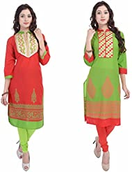 Fab Rajasthan Women's Cotton Printed, Self Design 3/4 Sleeve Green And Red Medium Kurti Pack Of 2