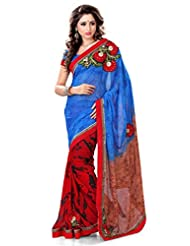 Sourbh Sarees Blue & Red Faux Georgette Must Have Best Sarees For Women Party Wear, Special Karwa Chauth Gifts...
