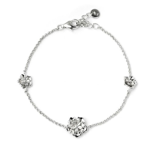 Platinum Plated 925 Sterling Silver 3D Rose Bracelet
