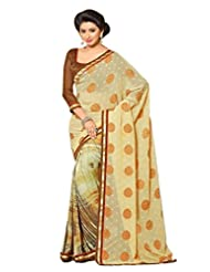 AG Lifestyle Beige Faux Georgette & Jacquard Pallu Saree With Unstitched Blouse ELG8014