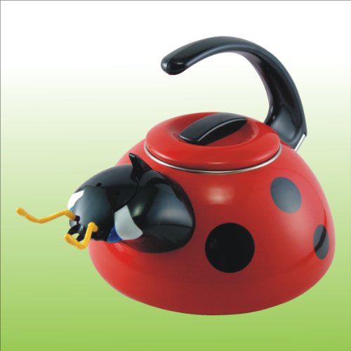 Unique Tea Kettles ~ Unique novelty ladybug design whistling enamel coated tea