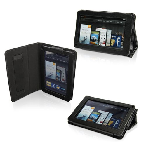 Snugg Amazon Kindle Fire Case - Black Leather Cover and Flip Stand with Elastic Hand Strap and Premium Nubuck Fibre Interior for Amazon Kindle Fire
