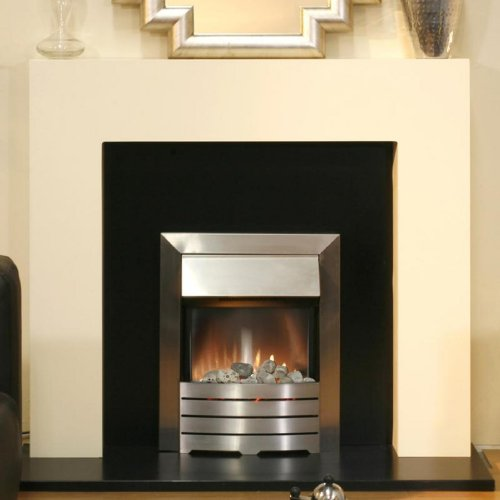 Miami Ivory  &  Black Electric Fireplace with Helios Fire