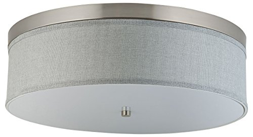 Linea di Liara Occhio 20.5-Inch Heather Gray Three-Light Ceiling Fixture, Brushed Nickel with Fabric Shade, Flushmount LL-C253-HG (Kitchen Semi Flush Lighting compare prices)