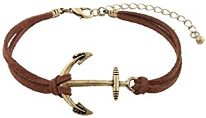 2 Pieces of Brown with Brushed Gold Ship Anchor Charm with an Adjustable String Bracelet