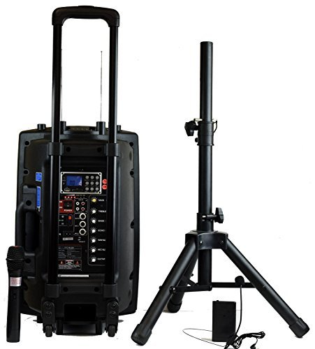 Hisonic HS420 Rechargeable Portable PA System with Dual Wireless Microphones with MP3 Player/Recorder, Bluetooth Connection and Tripod Included (Portable Pa Sound System compare prices)