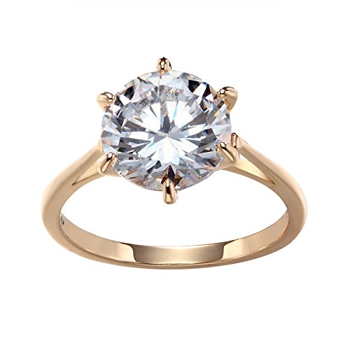 Romantic Time Crown Six Prong Zirconia Classic 18k Rose Gold Plated Wedding Rings (5.5)