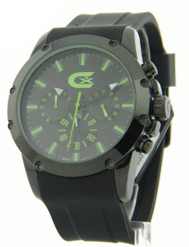 Mens Croton Rubber Chronograph Green Numbers Watch CX328023BKGR