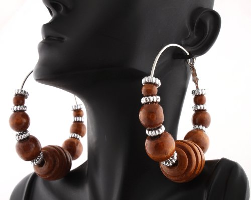 Brown Poparazzi Wooden Honeycomb Style 2.75 Inch Hoop Earrings with Mini Balls and Loops