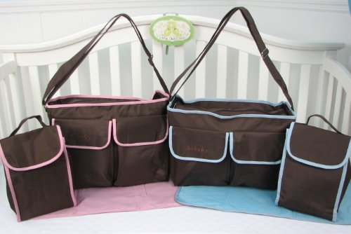 Soho Pink/ Blue And Brown Diaper Bag (2 Colors) (Pink And Brown) front-745025