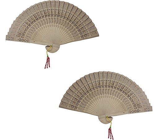 Chinese Sandalwood Scented Wooden Hand Held Folding Fans for Wedding Decoration, Birthdays, Home Gifts (24 Pack)