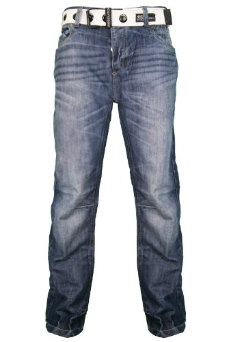 New Mens CrossHatch Stone Wash Straight Leg Jeans With Belt. Style - Hornet. Waist Size - 30