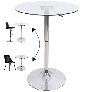 Table de bar ronde ajustable en verre x h de 70 - Amazon table de bar ...