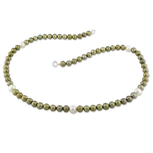 5-6 mm FW Green and 7 mm White Pearl Single Row Necklace, 18