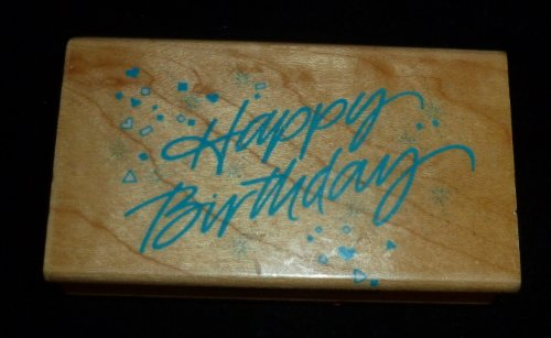 Happy Birthday Confetti Rubber Stamp - 1