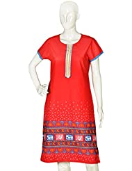 Artisan Crafted Short Sleeve Fine Floral, Birds And Elephant Print Cotton Kurta(Red) For Women