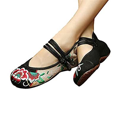 Chinese Embroidered Floral Shoes Women Ballerina Mary Jane ...