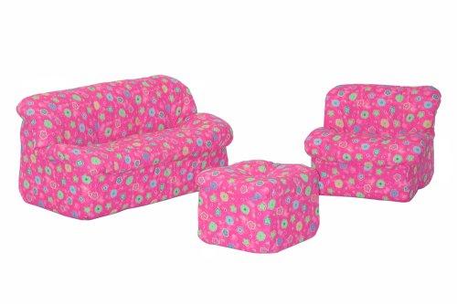 Children's 3Piece Sofa Set (Mini Mushroom), Pink Flower