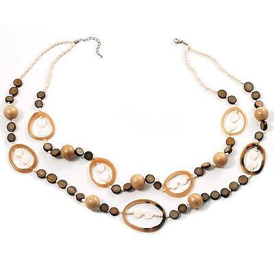 Boho Two Strand Bead Ivory Fashion Necklace