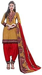 PADMiNi Ethnicwear Women's Dress Material Yellow Free Size
