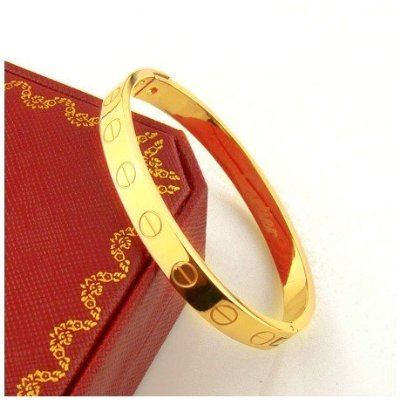 Men's Designer inspired Love Gold Titanium Steel Screw Bracelet Bangle Perfect GIFT for Him! no box