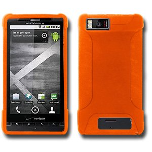 New Silicone Skin Jelly Case Orange For Verizon Motorola Droid X Mb810 Anti Dust Scratch Free by AMZER