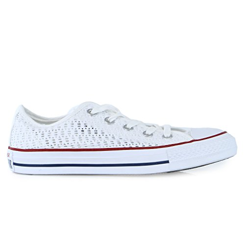 Converse Chuck Taylor All Star Crochet Ox  Fashion Sneaker Shoe - White/White/Black - Womens - 8