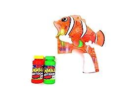 Flash Bubble Gun Cartoon Clear Fish W/ Music & Light Aa Battery Included Orange