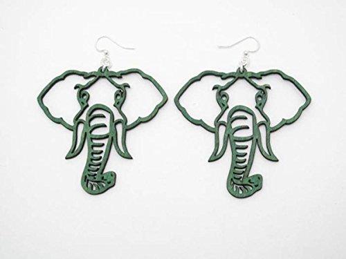 Kelly Green Elephant Head Wooden Earrings