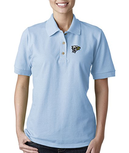 Sm. Eagle Head School Mascot Embroidery Embroidered Lady Woman Polo Shirt